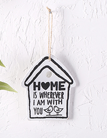Lovely White Letter Pattern Decorated House Shape Wall Ornaments