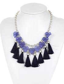 Fashion Dark Blue Leaf&tassel Decorated Simple Necklace