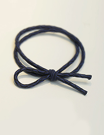 Fashion Navy Pure Color Decorated Double Layer Hair Band