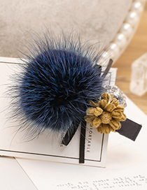 Fashion Sapphire Blue Fuzzy Ball&flower Decorated Hairpin
