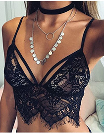 Fashion Black Pure Color Decorated Hollow Out Bra
