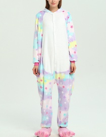 Trendy Multi-color Stars Pattern Decorated Siamese Pajamas
