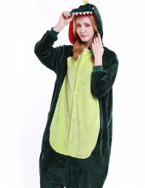 Trendy Green Dinosaur Shape Decorated Siamese Pajamas