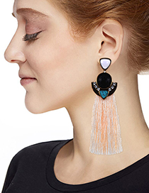 Fashion White Long Tassel Decorated Earrings