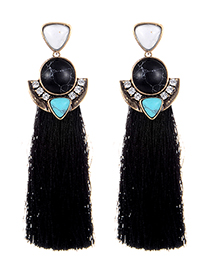 Fashion Black Long Tassel Decorated Earrings