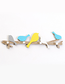Fashion Yellow+blue Little Birds Decorated Hook Ornaments