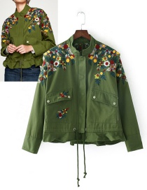 Trendy Olive Embroidery Flower Decorated Simple Coat