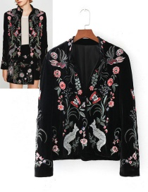 Trendy Black Flower Pattern Decorated Long Sleeves Coat
