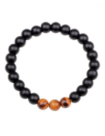 Fashion Black+brown Color Matching Decorated Beads Bracelet