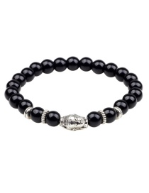 Fashion Silver Color +black Buddha Head&beads Decorated Bracelet