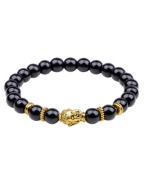 Fashion Gold Color +black Buddha Head&beads Decorated Bracelet