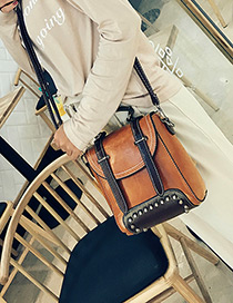 Fashion Brown Rivet Decorated Simple Mini Backpack