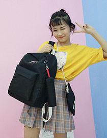 Fashion Black Girl Pattern Decorated Pure Color Backpack