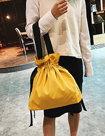 Fashion Yellow Pure Color Decorated Drawstring Design Shoulder Bag