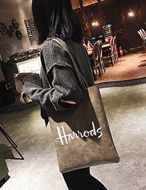 Fashion Gray Letter Pattern Decorated Shoulder Bag (2pcs)