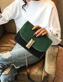 Fashion Green Square Shape Buckle Decorated Shoulder Bag