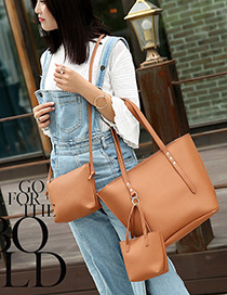 Fashion Light Brown Pure Color Decorated Shoulder Bag(3pcs)
