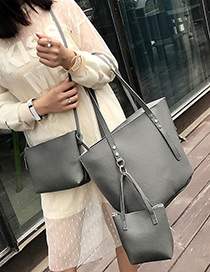 Fashion Dark Gray Pure Color Decorated Shoulder Bag(3pcs)