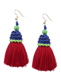 Tassel Red Color-matching Decorated Tassel Earrings
