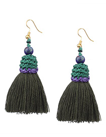 Tassel Green Color-matching Decorated Tassel Earrings