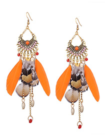 Vintage Orange Feather Decorated Tassel Earrrings