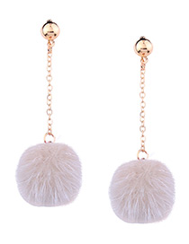 Cute Beige Fuzzy Ball Decorated Pom Earrings