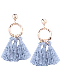 Bohemia Light Blue Tassel Decorated Earrings