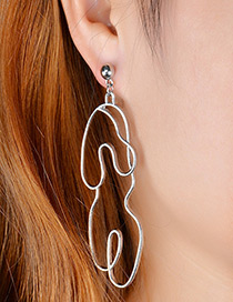 Personality Silver Color Pure Color Decorated Earrings