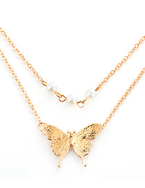 Elegant Gold Color Butterfly Shape Decorated Double Layer Necklace