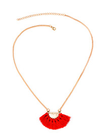 Bohemia Red Fan Shape Decorated Tassel Necklace