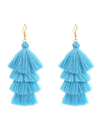 Bohemia Blue Pure Color Decorated Tassel Earrings