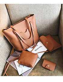 Fashion Light Brown Pure Color Decorated Bags (4pcs)