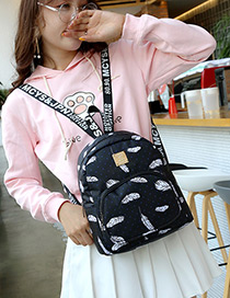 Fashion Black Metal Square Shape Decorated Backpack