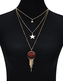 Fashion Brown Star Shape Decorated Multilayer Necklce