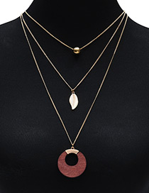 Fashion Brown Round Shape Decorated Multilayer Necklace