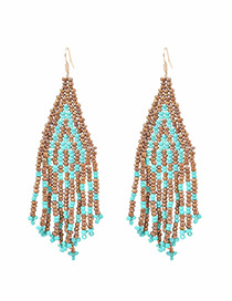 Bohemia Multi-color Color-matching Decorated Tassel Earrings