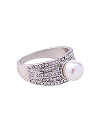 Trendy Silver Color Pearls&diamond Decorated Pure Color Ring