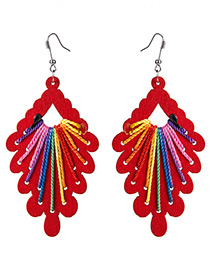 Exaggerated Red Geometric Shape Decorated Hollow Out Earrings