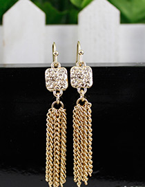 Fashion Gold Color Diamond Decorated Pure Color Tassel Earrings