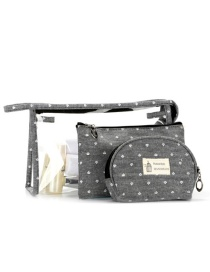 Trendy Gray Letter Pattern Decorated Transparent Cosmetic Bag(3pcs)