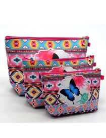 Trendy Pink Butterfly Pattern Decorated Cosmetic Bag(3pcs)