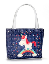 Trendy Navy Unicorn Pattern Decorated Cosmetic Bag