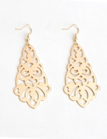 Fashion Gold Color Flower Decorated Hollow Out Earrings