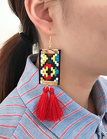 Fashion Red Tassel Decorated Hand-woven Design Earrings