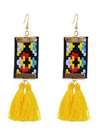 Fashion Yellow Tassel Decorated Hand-woven Design Earrings