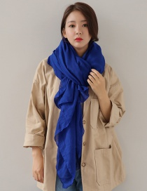 Fashion Sapphire Blue Pure Color Decorated Dual-use Scarf