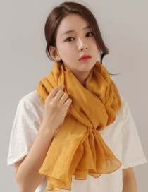 Fashion Yellow Pure Color Decorated Dual-use Scarf