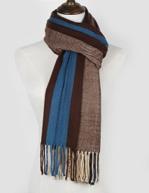 Fashion Coffee+blue Color Matching Decorated Thicken Scarf