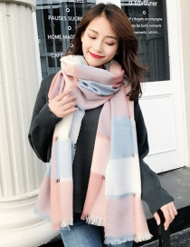 Fashion Pink Grid Pattern Decorated Dual-use Thicken Scarf
