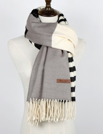 Fashion Gray Tassel Decorated Color Matching Thicken Scarf
